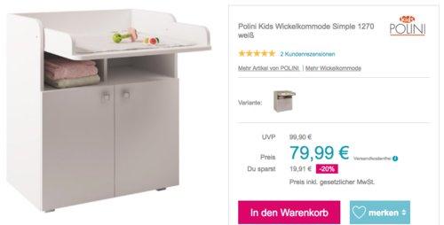 Polini Kids Wickelkommode Simple 1270, weiß oder ulme-weiß - jetzt 16% billiger