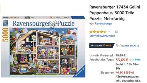 Ravensburger 17434 Gelini Puppenhaus Puzzle, 5000 Teile - jetzt 43% billiger