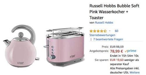 Russell Hobbs Bubble Wasserkocher und Toaster Set inSoft Pink - jetzt 20% billiger