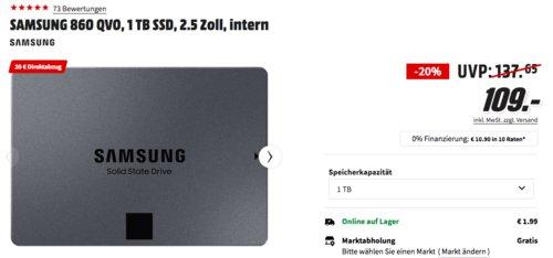 SAMSUNG 860 QVO 1 TB interne SSD-Festplatte - jetzt 18% billiger