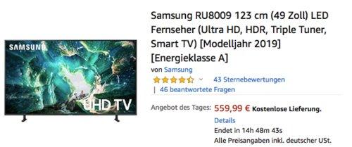 Samsung RU8009 123 cm (49 Zoll) 4K/Ultra HD Fernseher - jetzt 21% billiger