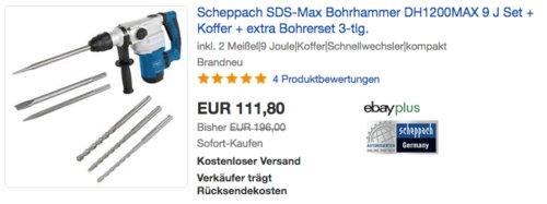 Scheppach SDS-Max Bohrhammer DH1200MAX 9 J Set, inkl. Koffer und 3-teiliges Bohrerset - jetzt 20% billiger