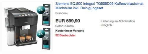 Siemens TQ505D09 EQ.500 integral Kaffeevollautomat inkl. Reinigungsset - jetzt 12% billiger