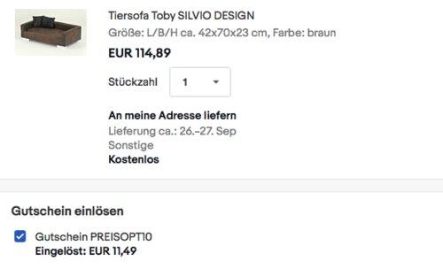 "SILVIO DESIGN Tiersofa ""Toby"", 42 x 70 x 23 cm - jetzt 10% billiger"