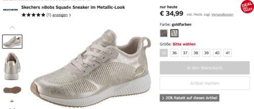 """Skechers Damen Sneaker """"Bobs Squad"""" im Metallic-Look, silber oder gold - jetzt 20% billiger"""
