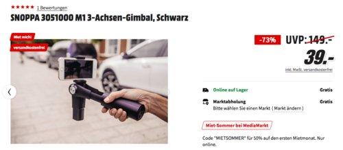 SNOPPA 3051000 M1 3-Achsen-Gimbal, passend für Smartphones (58 - 85 mm) - jetzt 51% billiger