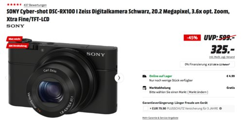 SONY Cyber-shot DSC-RX100 I Zeiss Digitalkamera (20.2 MP, 3.6x opt. Zoom, Xtra Fine) - jetzt 9% billiger