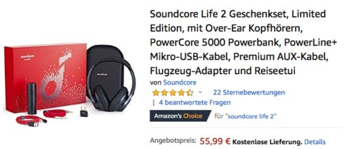 Soundcore Life 2 Geschenkset (Over-Ear Bluetooth-Kopfhörer, PowerCore 5000 Powerbank, PowerLine+ Mikro-USB-Kabel, Premium AUX-Kabel, Flugzeug-Adapter und Reiseetui) - jetzt 40% billiger