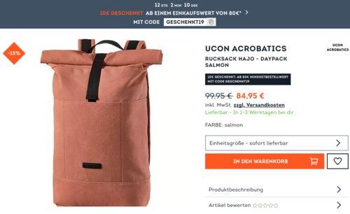 SportScheck.com - 10€ geschenkt ab Mindestbestellwert von 80€: z.B. Ucon Acrobatics Rucksack Hajo - Daypack salmon - jetzt 11% billiger