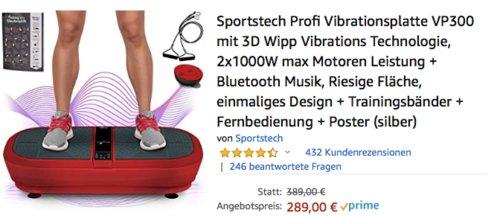 Sportstech Profi Vibrationsplatte VP300 mit 3D Wipp Vibrations Technologie, dunkelrot - jetzt 26% billiger