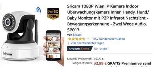 Sricam SP017 Wlan Überwachungskamera (1080P, Nachtsicht, Bewegungserkennung, 2 Wege Audio) - jetzt 21% billiger