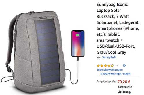 Sunnybag Iconic Laptop Solar Rucksack mit 7 Watt Solarpanel, grau - jetzt 20% billiger