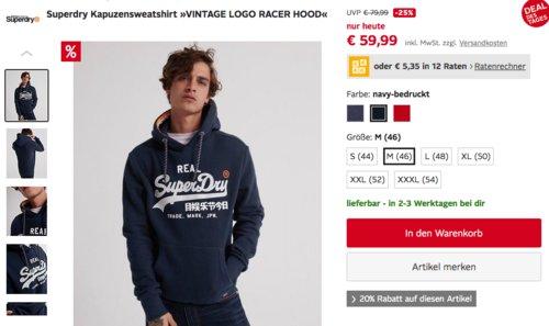 """Superdry Herren Kapuzensweatshirt """"VINTAGE LOGO RACER HOOD"""", versch. Farben und Größen - jetzt 23% billiger"""