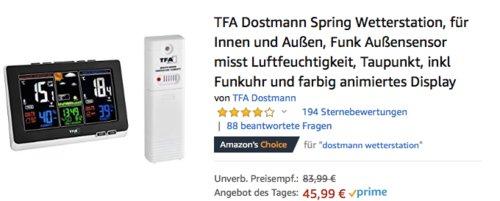 TFA Dostmann Spring Wetterstation inkl. Funk-Außensensor  (35.1129.01) - jetzt 19% billiger