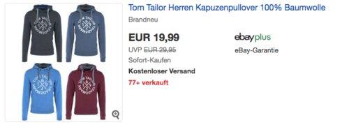 Tom Tailor Herren Kapuzenpullover Print Hoodie, versch. Farben und Größen - jetzt 20% billiger