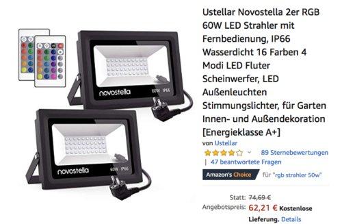 Ustellar Novostella RGB 60W LED-Strahler mit Fernbedienung 2er-Set - jetzt 17% billiger