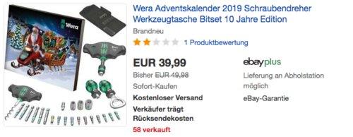 Wera Adventskalender 2019 (Schraubendreher, Werkzeugtasche, Bitset) - jetzt 13% billiger