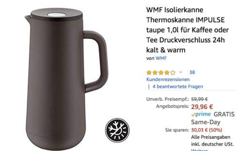 WMF Isolierkanne IMPULSE 1,0 Liter, taupe - jetzt 16% billiger