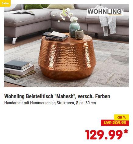 Wohnling Couchtisch MAHESH Ø 60 cm, kupfer oder gold - jetzt 6% billiger