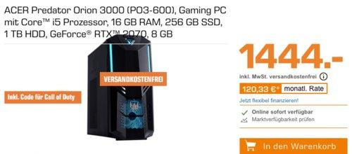 ACER DG.E14EG.049 Predator Orion 3000 Gaming PC (i5, 16 GB RAM, 256 GB SSD, 1 TB HDD, GeForce® RTX™ 2070, 8 GB) inkl. Code für Call of Duty - jetzt 10% billiger