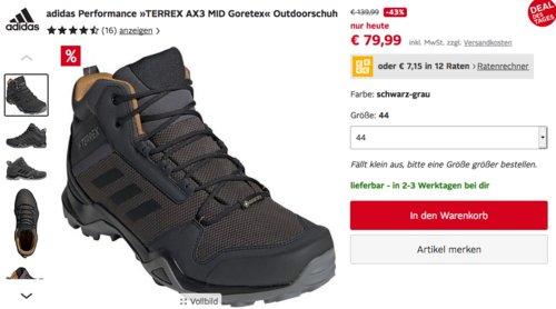 """adidas Performance Herren Outdoorschuh """"TERREX AX3 MID Goretex"""", schwarz-grau (40-47) - jetzt 3% billiger"""