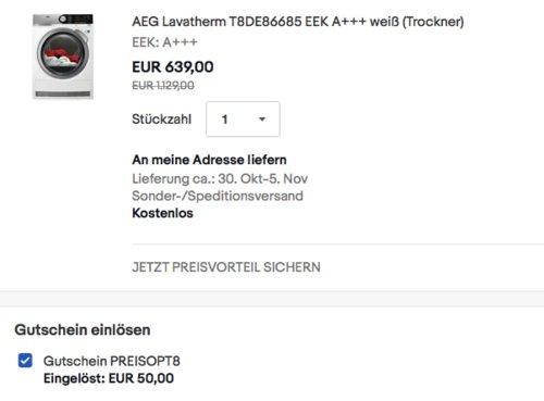 AEG T8DE86685 8 kg Wärmepumpentrockner, A+++ - jetzt 16% billiger