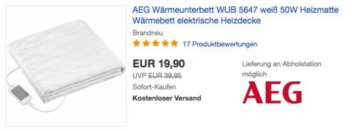 AEG WUB 5647 Wärmeunterbett, 150 x70 cm - jetzt 17% billiger