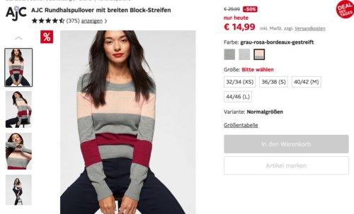 AJC Damen Rundhalspullover mit breiten Block-Streifen, versch. Farben und Größen - jetzt 42% billiger