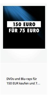 Amazon: Für 150 EUR Filme und Serien kaufen - 75 EUR sparen (bis 20.10.2019) - jetzt 50% billiger