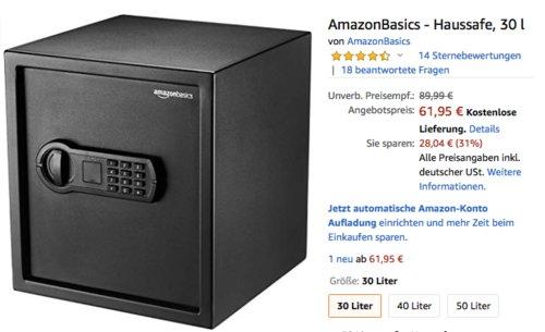 AmazonBasics 30 Liter Haussafe,  33 x 33 x 36 cm - jetzt 31% billiger
