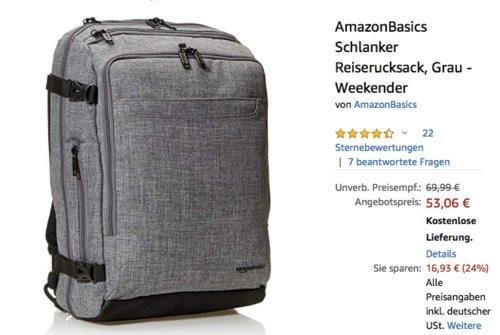 AmazonBasics Weekender Rucksack, grau (52,1 x 34,3 x 20,3 cm) - jetzt 24% billiger