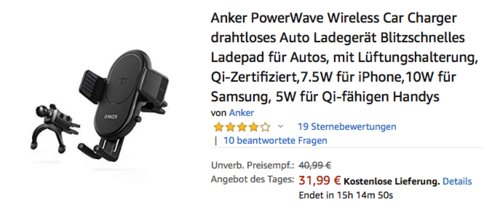 Anker PowerWave 7.5 drahtloses KFZ-Ladegerät, Qi-Zertifiziert - jetzt 22% billiger