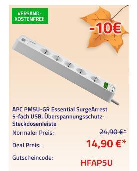 APC PM5U-GR Essential SurgeArrest 5-fach Überspannungsschutz-Steckdosenleiste mit 2 x USB - jetzt 40% billiger