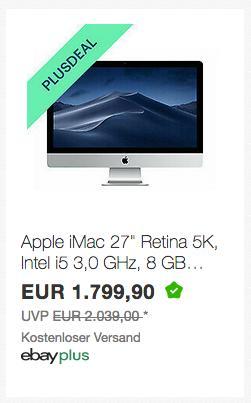 """Apple iMac MRQY2D/A 27"""" Retina 5K All-In-One PC (Intel i5 3,0 GHz, 8 GB RAM, 1 TB FD, 2019) - jetzt 3% billiger"""