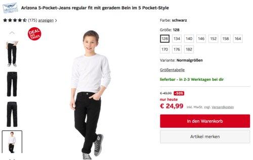 Arizona Jungen 5-Pocket-Jeans regular fit mit geradem Bein (128-182), schwarz - jetzt 45% billiger