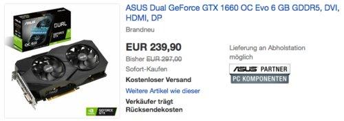 ASUS Dual GeForce GTX 1660 OC Evo 6 GBGaming Grafikkarte - jetzt 11% billiger