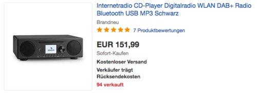 auna Connect CD Kompaktanlage (Internetradio, Digitalradio, WLAN, DAB+, UKW-Tuner mit RDS, Bluetooth, Spotify Connect, CD Player) - jetzt 16% billiger