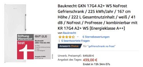 Bauknecht GKN 17G4 A2+ WS NoFrost Gefrierschrank, 167 cm hoch - jetzt 10% billiger