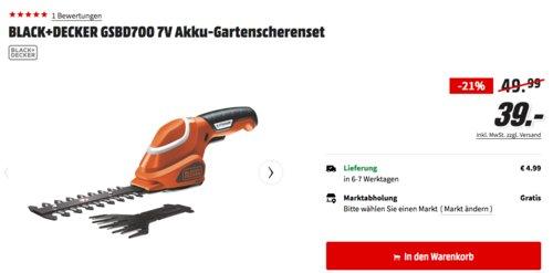 BLACK+DECKER GSBD700 7V Akku-Gartenscherenset - jetzt 22% billiger