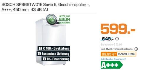BOSCH SPS66TW01E Serie 6 45cm Geschirrspüler, A+++ - jetzt 17% billiger