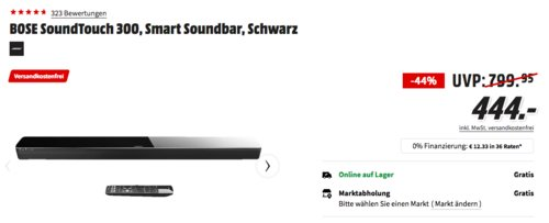 BOSE SoundTouch 300 Smart Soundbar, schwarz - jetzt 23% billiger