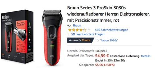 Braun Series 3 ProSkin 3030s wiederaufladbarer Herren Elektrorasierer, rot - jetzt 14% billiger