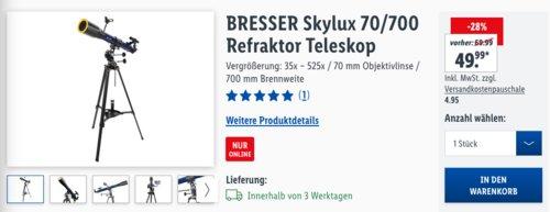 BRESSER Skylux 70/700 Refraktor Teleskop, 700 mm Brennweite - jetzt 27% billiger