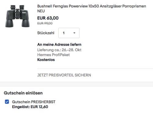 Bushnell Fernglas Powerview 10x50, Ansitzgläser - jetzt 33% billiger