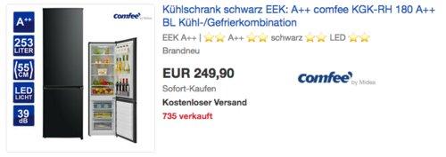 comfee KGK-RH A++ Kühl-/Gefrierkombination, schwarz, 253 Liter - jetzt 25% billiger