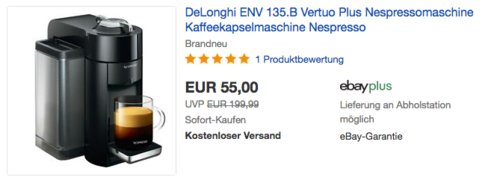 DeLonghi ENV 135.B Vertuo Plus Kaffeekapselmaschine - jetzt 39% billiger