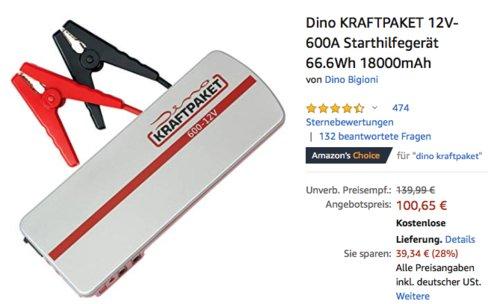Dino KRAFTPAKET 12V-600A 5in1 Starthilfegerät, 18000mAh - jetzt 17% billiger