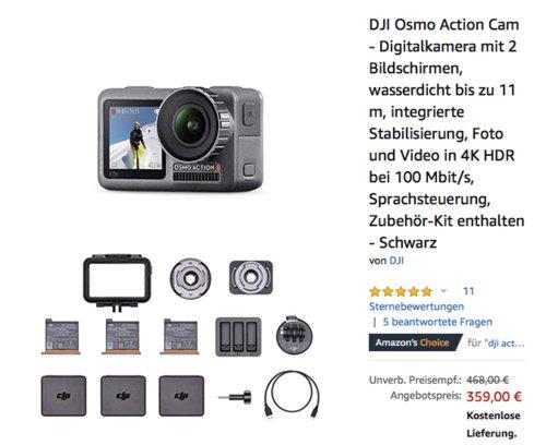 DJI Osmo 4K Action Cam Combo Kit (Action-Kamera, 3x Batterie etc.) - jetzt 13% billiger