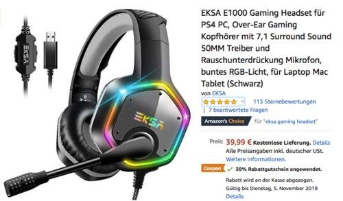 EKSA E1000 Gaming Headset mit 7,1 Surround Sound - jetzt 30% billiger