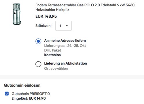 Enders Edelstahl Gas-Terrassenstrahler POLO 2.0, 6 kW - jetzt 10% billiger